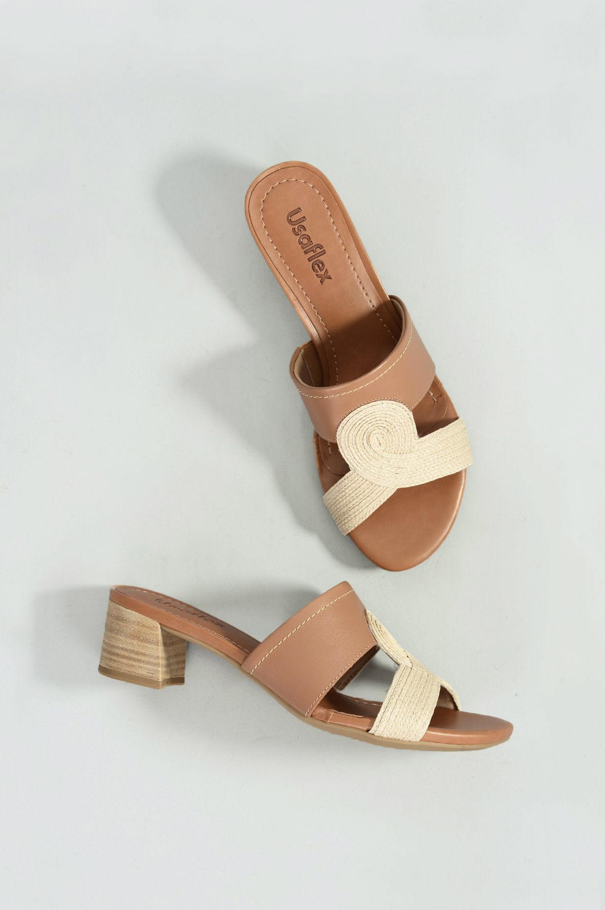 48c23ca9cd Tamanco Feminino Manye Usaflex CR-CAMEL - Mundial Calçados