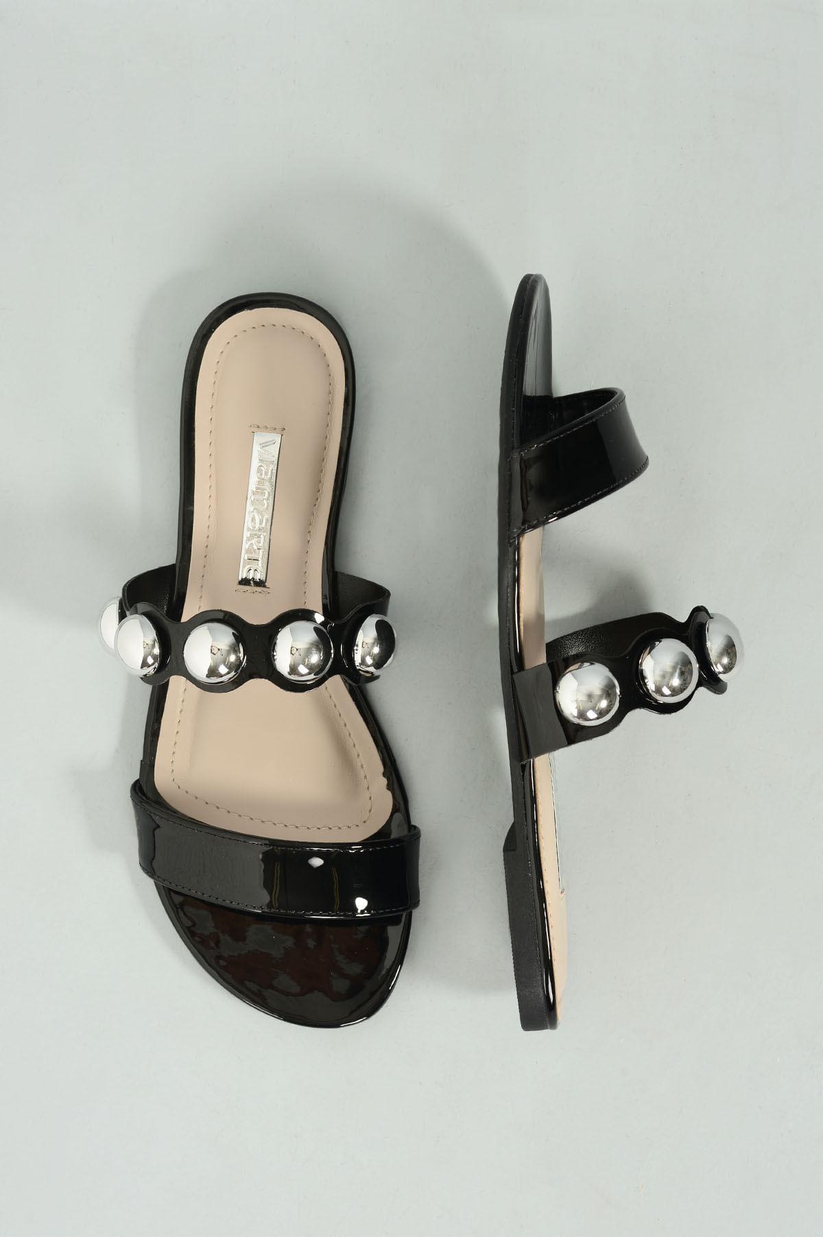 2e0e40892 Chinelo Feminino Mayumi Via Marte VERNIZ PRETO - Mundial Calçados