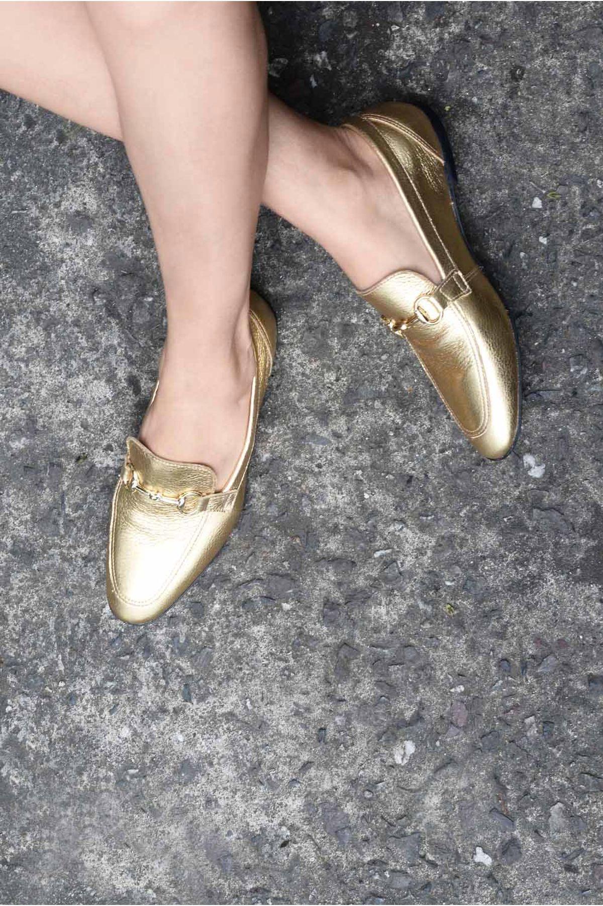 886b8316b0 Mocassim Feminino Milany Mundial CR-DOURADO - Mundial Calçados