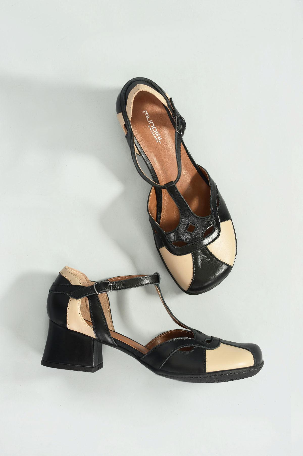 7a903f06e3 Sapato Feminino Salto Médio Maneva Mundial CR-PRETO - Mundial Calçados