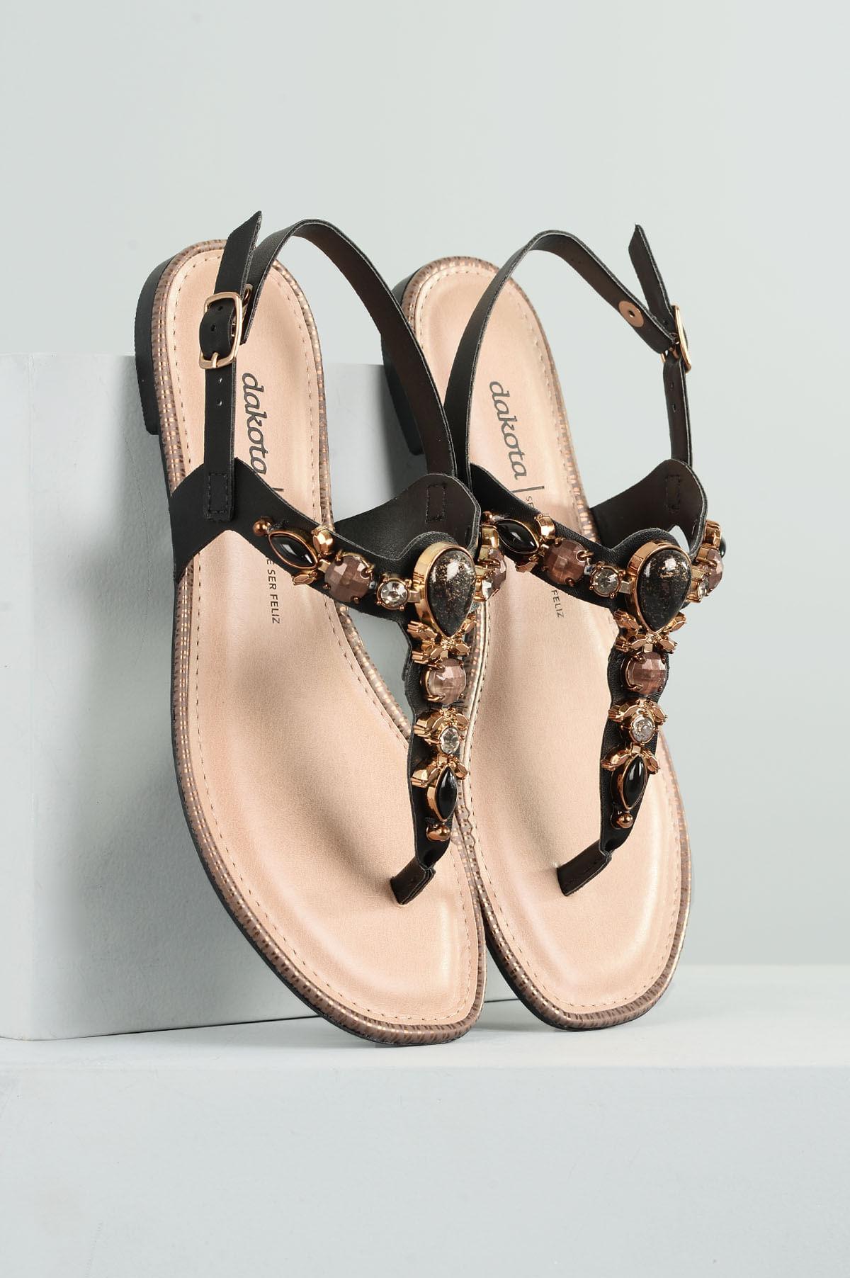 956d386410 Sandália Feminina Rasteira Helmy Dakota SINT - PRETO - Mundial Calçados