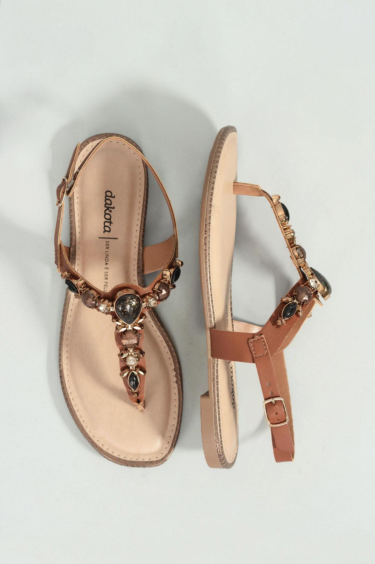 0bb4bde473 Sandália Feminina Rasteira Helmy Dakota SINT - CAFE - Mundial Calçados