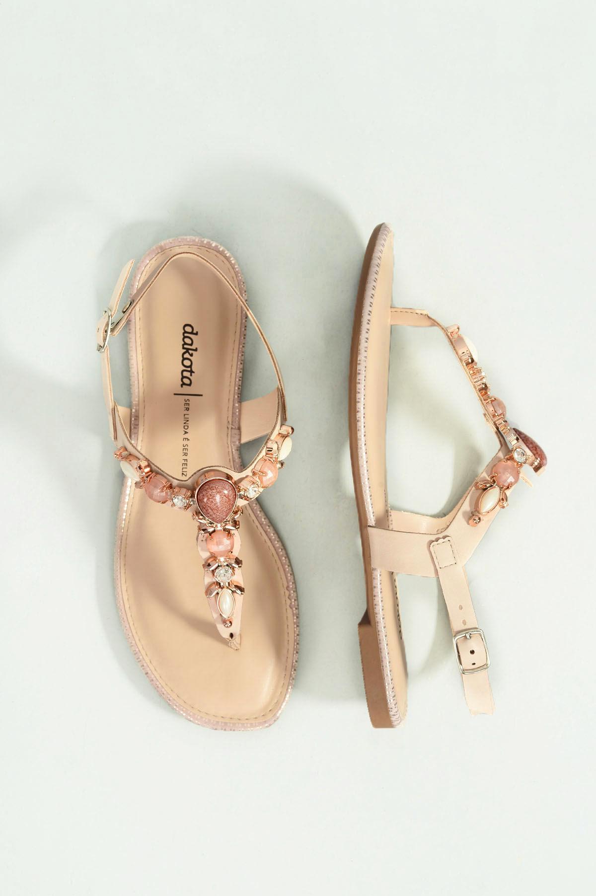 228678866 Sandália Feminina Rasteira Helmy Dakota SINT - NUDE - Mundial Calçados