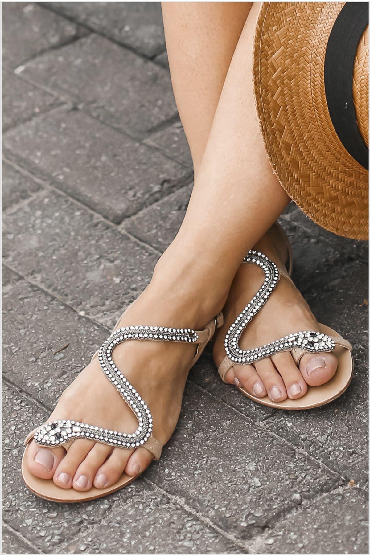 115fcb7a3c Sandália Feminina Rasteira Brevie Mundial CAM - BEGE - Mundial Calçados