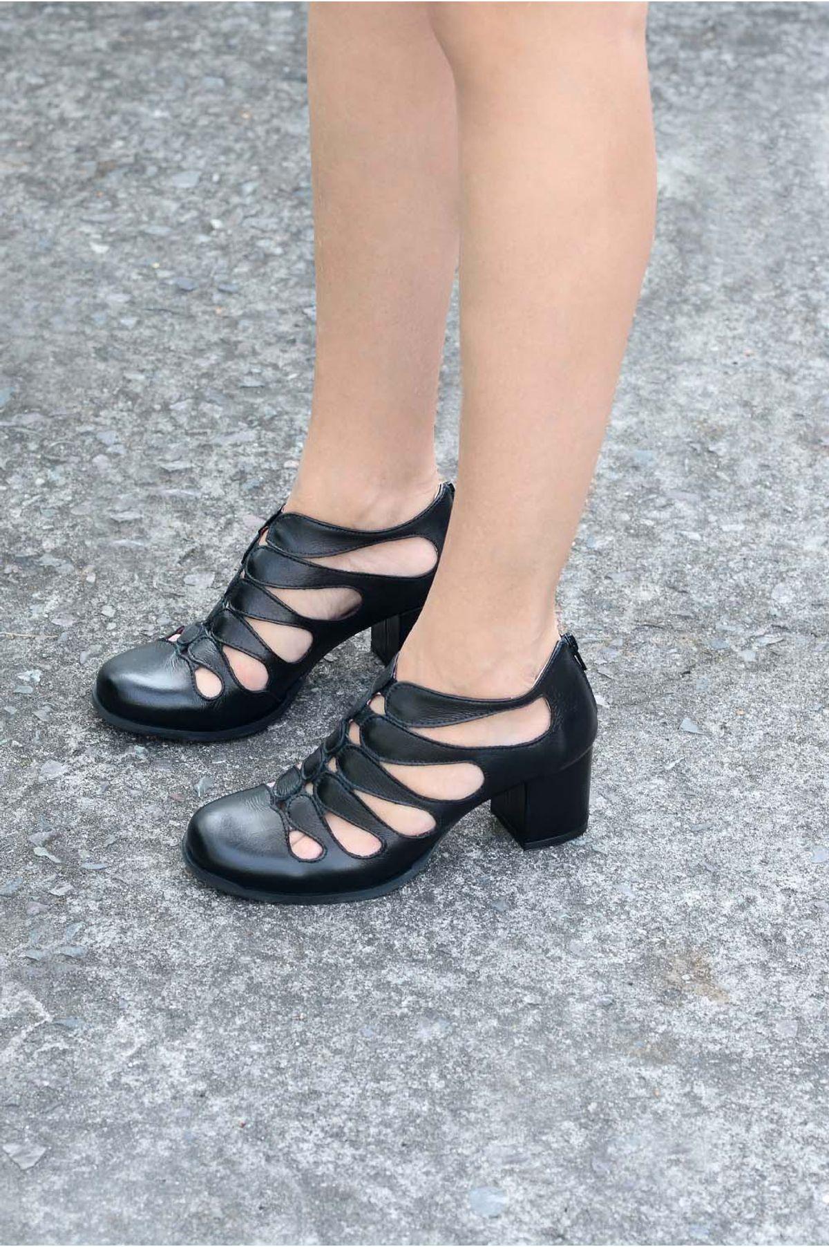 2870fe1f1 Sapato Feminino Salto Médio Noely Mundial CR-PRETO - Mundial Calçados