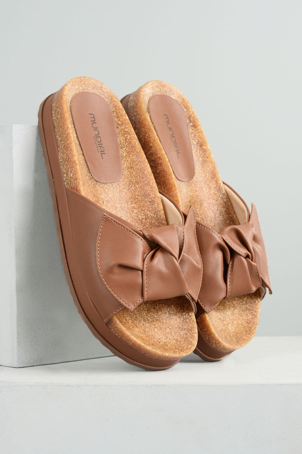 525ad92869 Chinelo Feminino Marly Mundial SINT - CARAMELO - Mundial Calçados