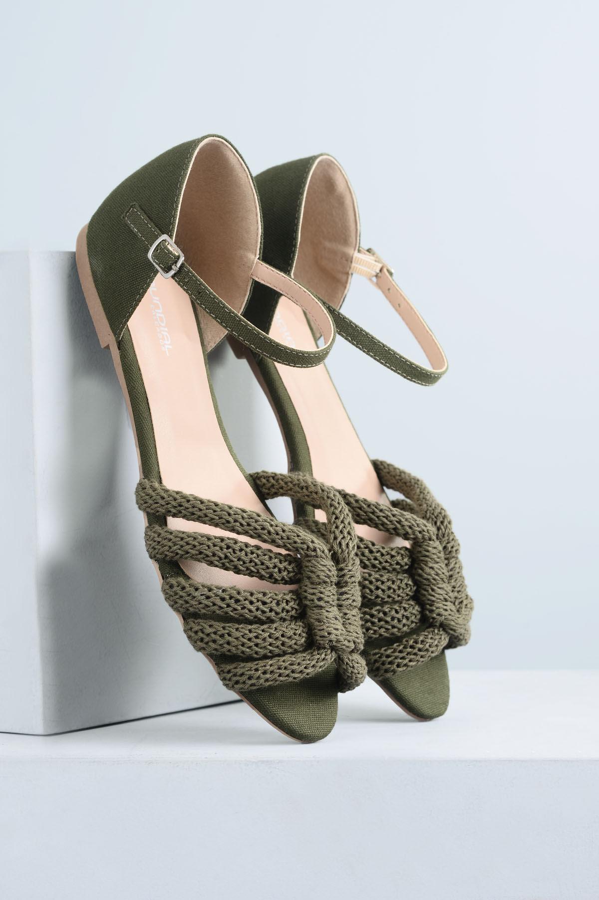 1b3128111 Sandália Feminina Rasteira Mieko Mundial TEC - VERDE - Mundial Calçados