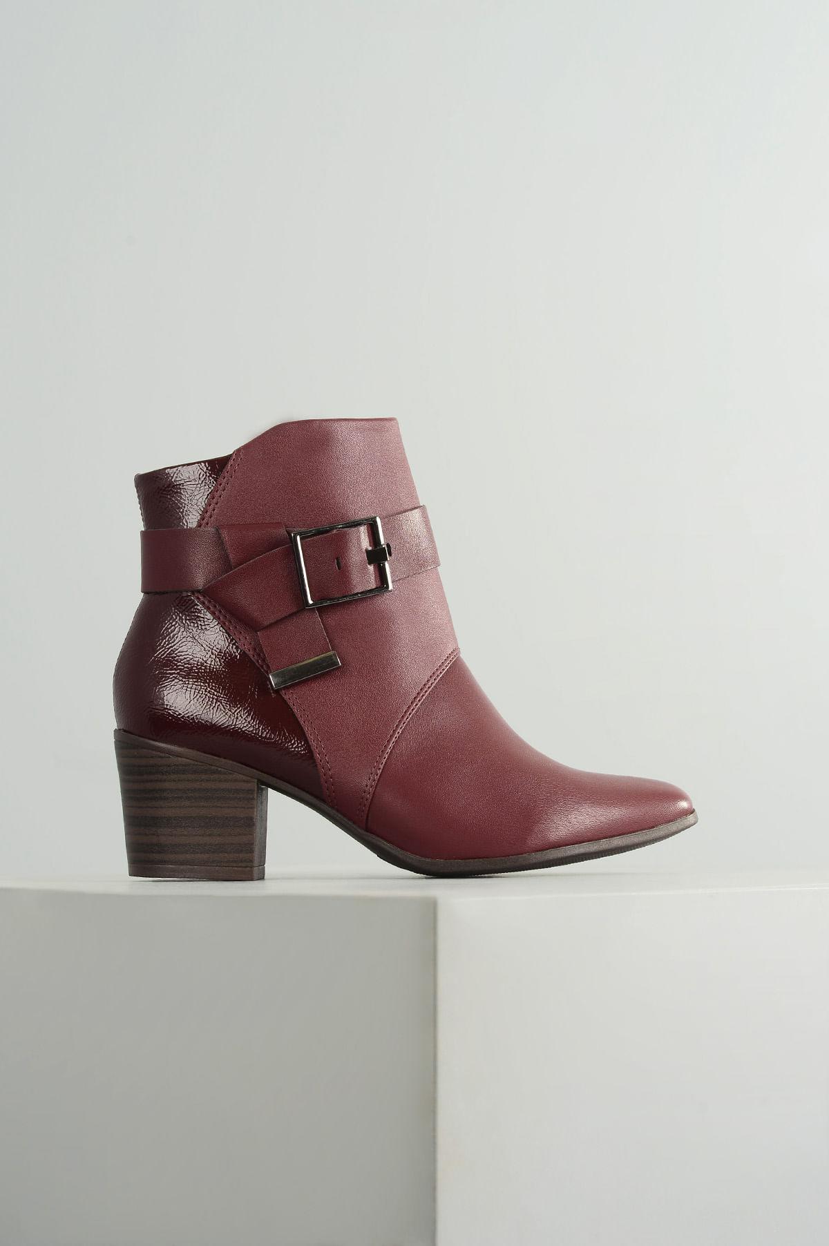 ede2834f83 Ankle Boot Salto Médio Glem Ramarim SINT - VINHO - Mundial Calçados