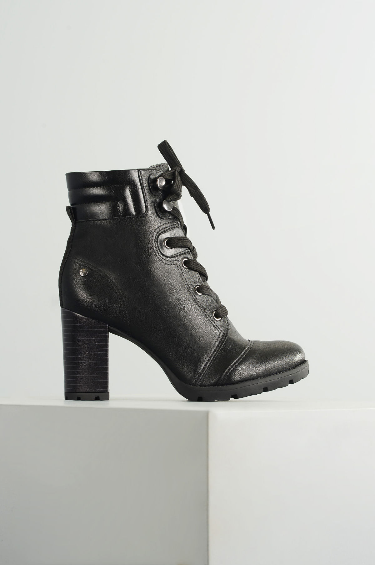 1052681a1 Bota Feminina Coturno Smay Tanara SINT - PRETO - Mundial Calçados