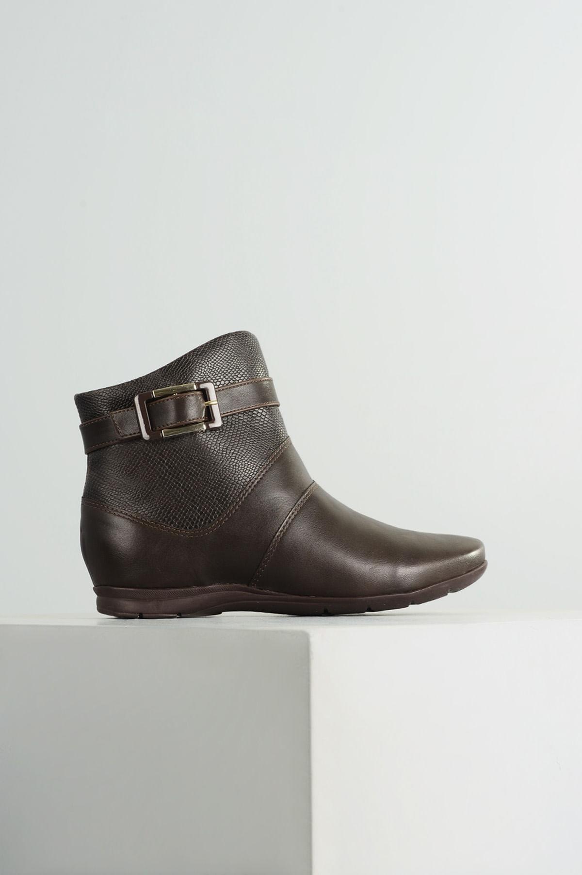 4e109c9f9 Ankle Boot Flat Jeane Comfortflex SINT - CAFE - Mundial Calçados