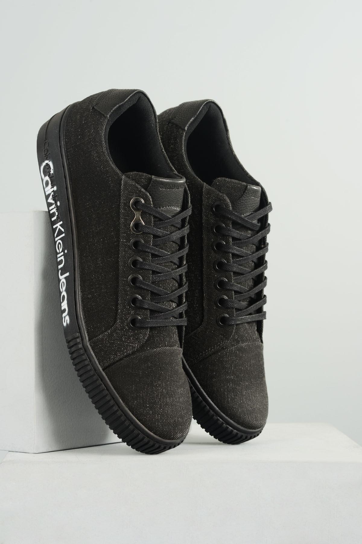 c8fe0eb72 Sapatênis Masculino Calvin Klein Leandro TEC - PRETO - Mundial Calçados