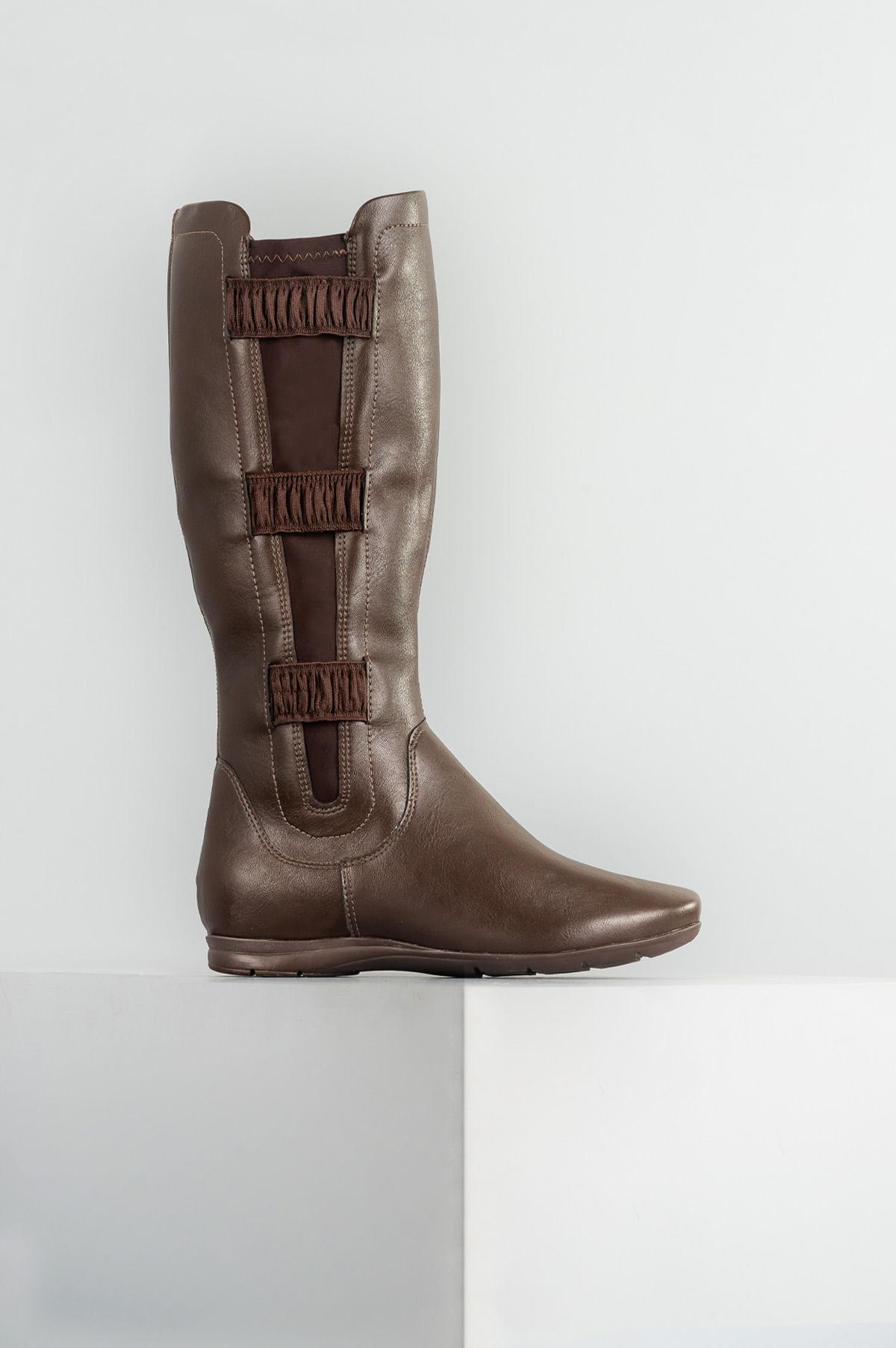 4ae7f0405 Bota Feminina Cano Longo Enya Comfortflex SINT - CAFE - Mundial Calçados