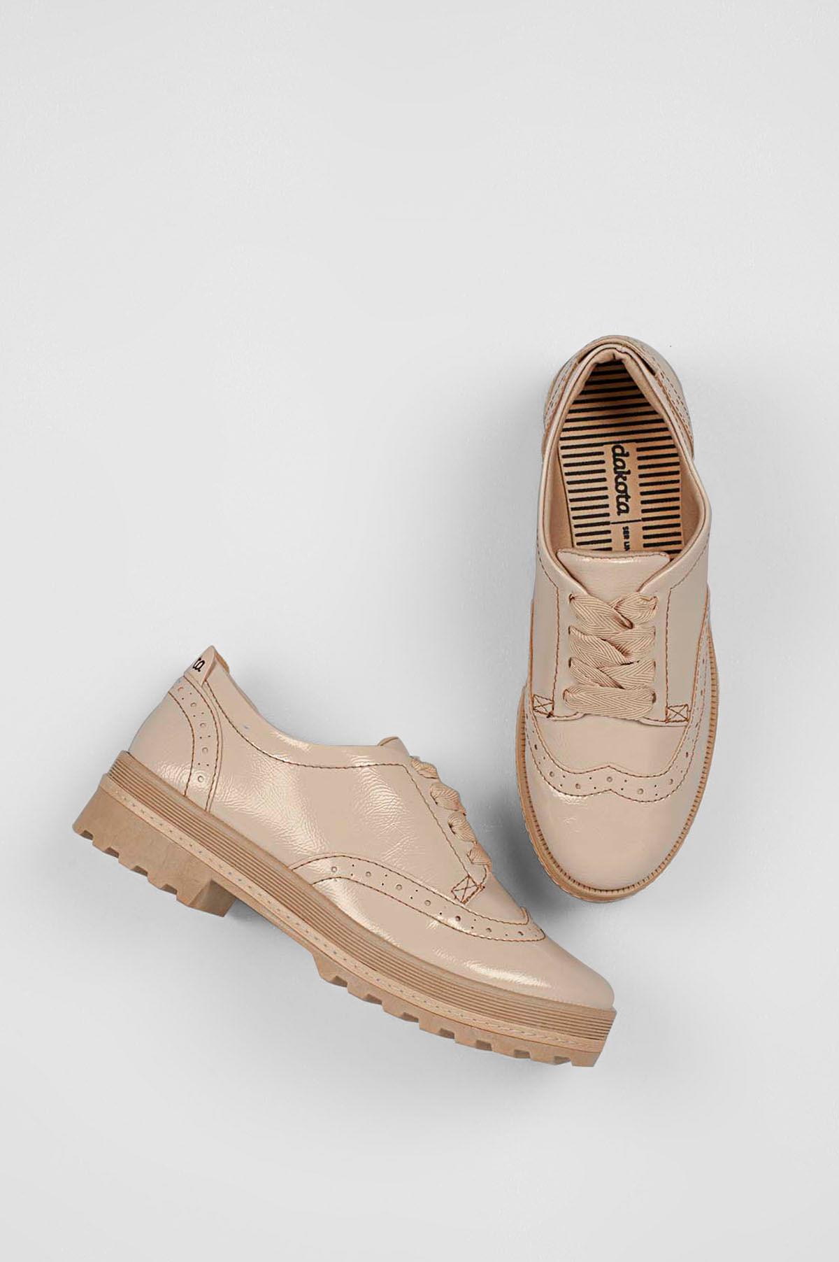 4238257ab Oxford Feminino Fabricia Dakota VERNIZ - BEGE - Mundial Calçados